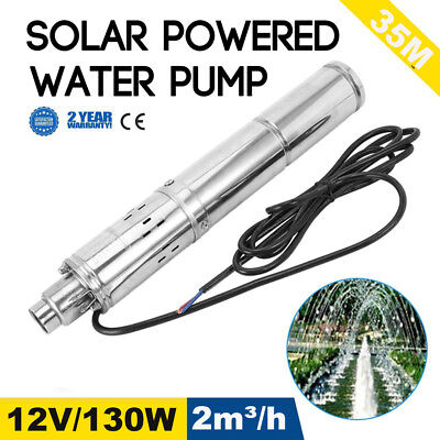 """NEW 12V 130W 2m3/H Stainless Shell Submersible 1"""" Deep Well Solar Water Pump MA"""