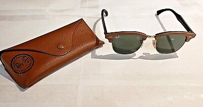 d1b18267ab RAY BAN RB 3016M Clubmaster Wood Sunglasses 1181 58 Brown ...