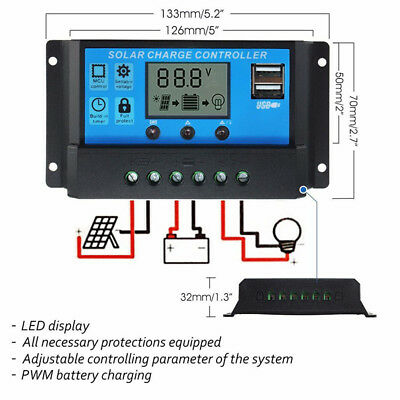 Solar Panel Charger Controller Battery Regulator USB LCD Reliable &AU*^