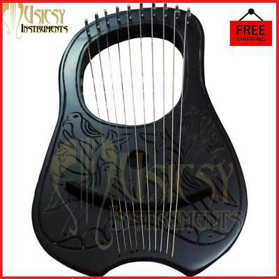 Lyre Harp Rosewood Black Bird Design 10 Strings With Free Bag Key And String Set