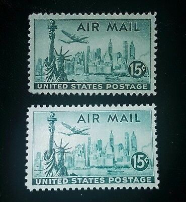 1946 US Airmail Stamps Wet & Dry C35 MNH & C35a MHR! Mint! New York Skyline!