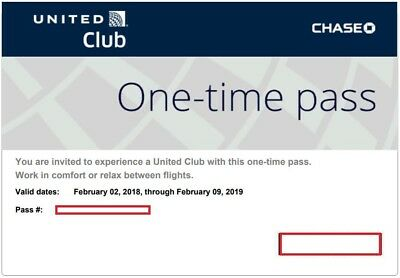 United Club Passes - 1 One Time Pass, Exp 02/09/2019, E-Delivery via Email