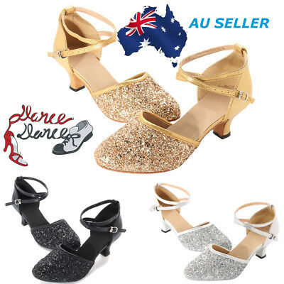AU Womens Latin Dance Shoes Heeled Ballroom Salsa Tango Shoes Light Sparkling