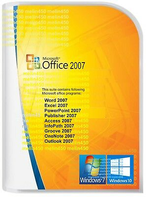 Microsoft Office 2007 for Windows 7 &10 Word/Excel/Outlook/Power P etc 3 PC use