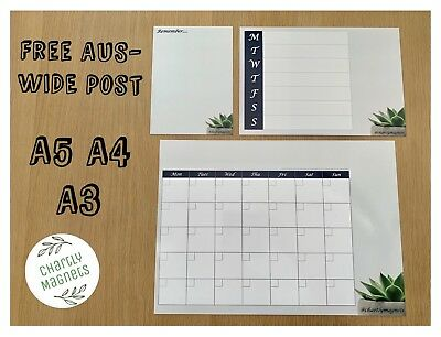 Succulent Fridge Magnet Whiteboard Family Monthly Weekly Planner Calendar A3A4A5
