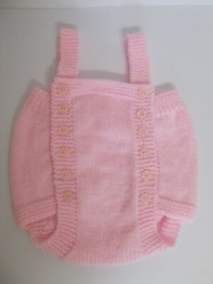 Hand Knitted Baby Romper Baby Pink 0-3 months Baby Girl Lovely