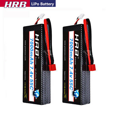 2x HRB 2S2P 7.4V 7000mAh LiPo Battery 55-110C Deans for RC Car 138*46*25mm Drone