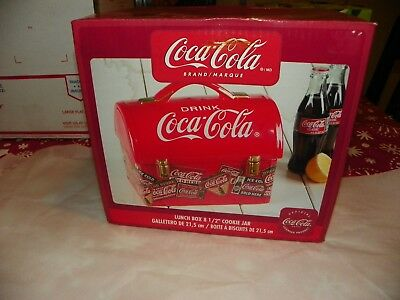 Coca-Cola collectible lunchbox cookie jar. New and unused. 8 1/2 ''