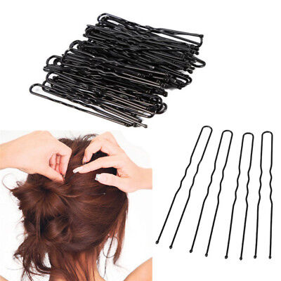 50 Pcs 6-7 cm U-shape Waved Hair Clips Bobby Pin Clamps Hair Grips Clips Black