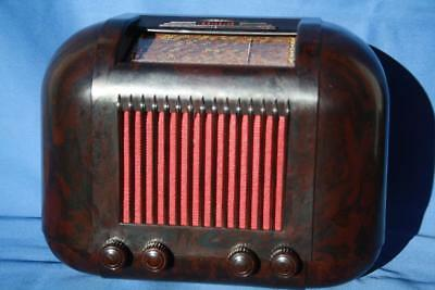 Gorgeous Vintage Mottled Brown Bakelite Kriesler Valve Radio