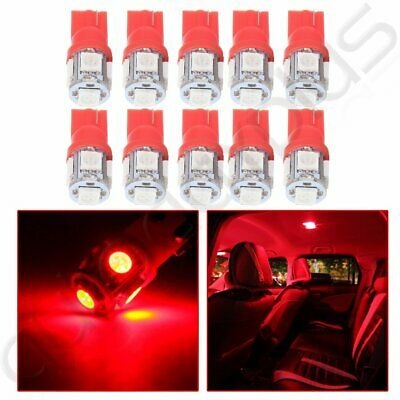 10pcs Red Car Side 5-5050SMD LED Wedge T10 194 168 W5W Interior Light Lamp Bulb
