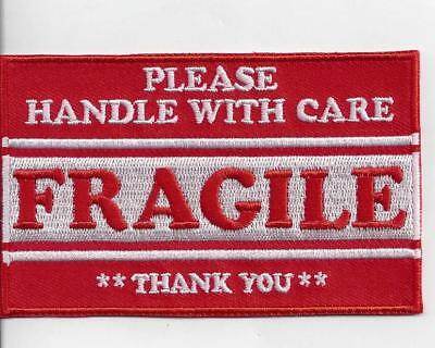 FRAGILE HANDLE WITH CARE FUN IRON ON PATCH  buy 2 WE SEND THREE
