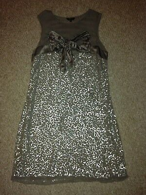 Marks And Spencer Per Una Grey Silver Sequin Bow Chiffon Evening Dress Size 16