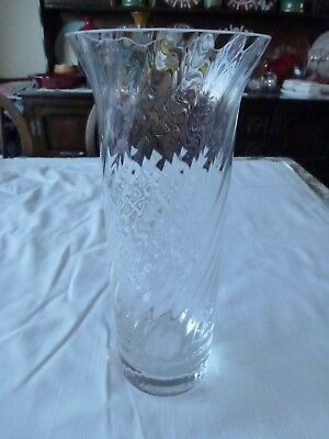Beautiful Tall Slim Crystal Glass Vase