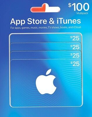 Canadian iTunes Cards 4X$25 $100 total value