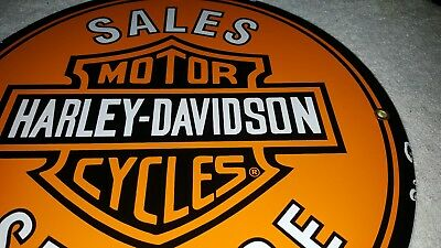 Harley-Davidson Motorcycles  Porcelain Enamel Gas Oil Sales Service  Dealer Sign