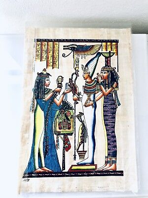 Vintage HAND PAINTED EGYPTIAN ART ON PAPYRUS.