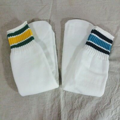 VTG Unworn Striped Tube Crew Socks 17 Inches Yellow Green Blue New Old Stock