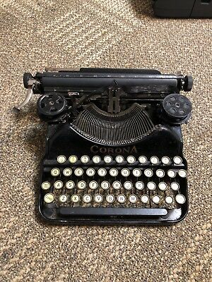 Vintage Antique Corona Four Typewriter with Case For Parts