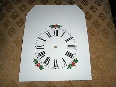 "Steeple Paper Clock Dial- 4 1/4"" M/T-Floral- MATT WHITE -Face/Clock Parts/Spares"