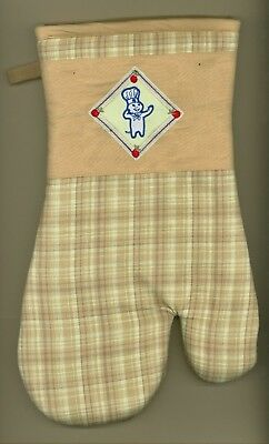 NWT 2005 Pillsbury Doughboy Lt Brown Cherry Heavy Duty Embroidered Oven Mitt 🍒