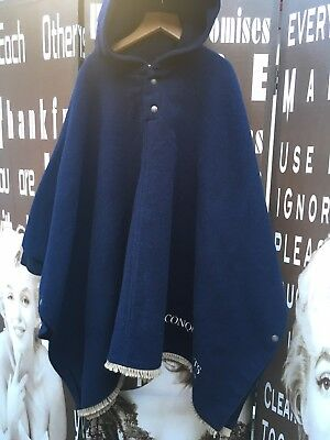 Girls Vintage Wool Poncho Cape Hood Blue Sailor 6 Yrs Made In France