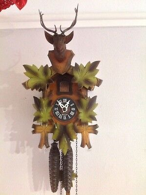 German Hubert Herr Stags Head Cuckoo Clock ~Working Order