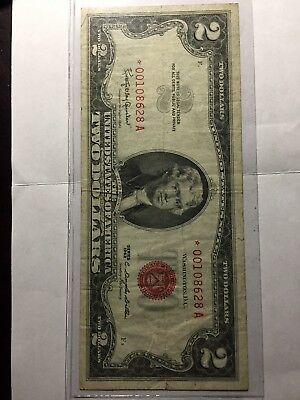 2 Dollar Red seal star note 1963 excellent condition. Circulated *00108628A $2.