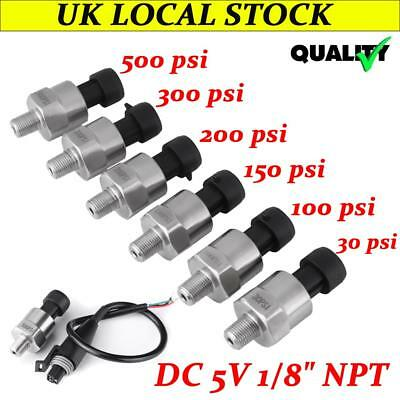 1/8NPT Stainless Steel Pressure Transducer 30-500psi Oil Fuel Air Water Sensor