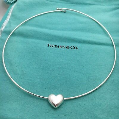 Tiffany & Co Sterling Silver Sliding Heart Pendant Collar Necklace