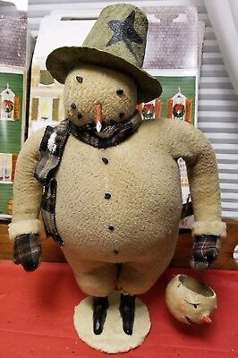"Cody Foster Folk Art Primitive SNOWMAN w/ CANDY CONTAINER Extra Large 18.5"" ESC"