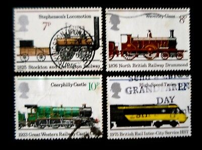 "Great Britain. 1975. ""150th. Anniv. of Public Railways"" set of 4 stamps. Used."