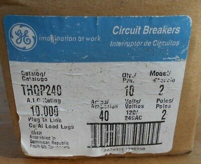 20 NIB GE THQP240 2 pole 40 amp 120/240v circuit breakers, New in Ugly Box