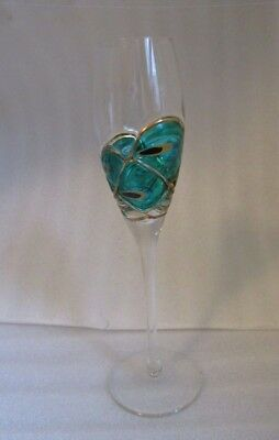 ELEGANT Champagne Flute HAND CRAFTED Art Glass w BLOWN OUT PEACOCK FEATHER OOAK!