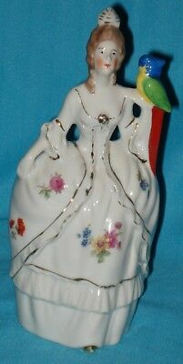 Vintage WALL POCKET of Woman & Parrot