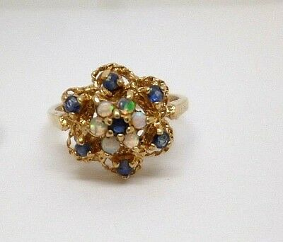 9ct Yellow Gold blue sapphire and white opal claw set cluster dress ring, size I