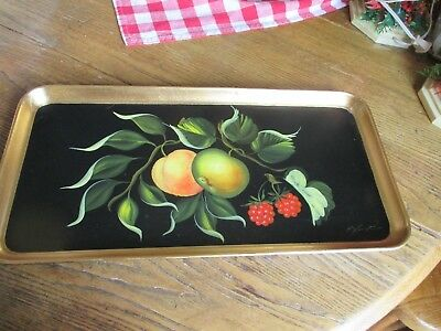Beautiful Tray Hand Painted Fruit ~ Signed Vintage Laquerware