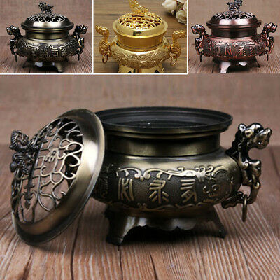 Vintage China Alloy Incense Burner Double Dragon Hollow Cover Censer Cone Holder