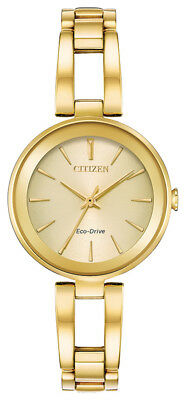 Citizen Eco-Drive Axiom Women's EM0638-50P Champagne Dial Gold-Tone 28mm Watch