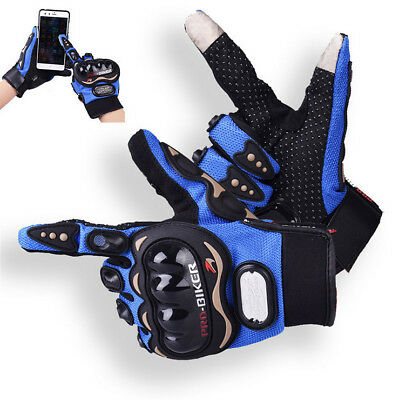 motorcycle Full Finger gloves touch screen protective racing Outdoor blue gants