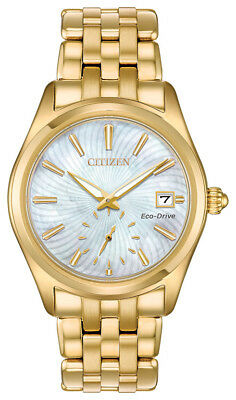Citizen Eco-Drive Corso Women's EV1032-51D Textured Dial Gold-Tone 36mm Watch