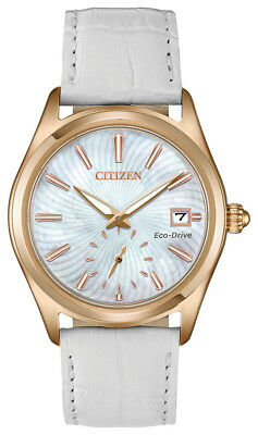 Citizen Eco-Drive Corso Women's EV1033-08D Rose Gold Case White Band 36mm Watch
