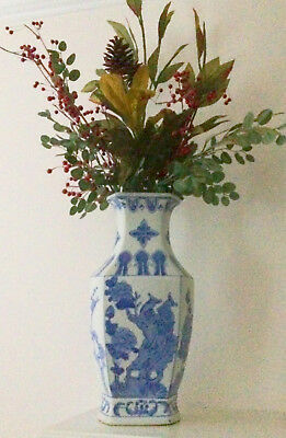 Vintage Blue and White Chinese Vase