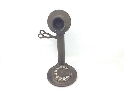 Antique Brass American Bell Candlestick Rotary Telephone Western Electric At&t