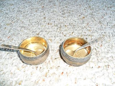 Soviet Ussr Russian 875 Sterling Silver Salt Holders Bowls Set Of 2 With Spoons