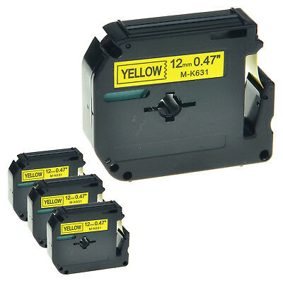 """4 PK MK631 M-K631 Black On Yellow Label Tape For Brother P-Touch PT-65SCCP 1/2"""""""