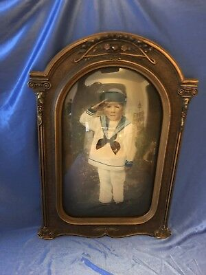 """Antique Bowed Glass Picture Frame - 21"""" X 14"""""""