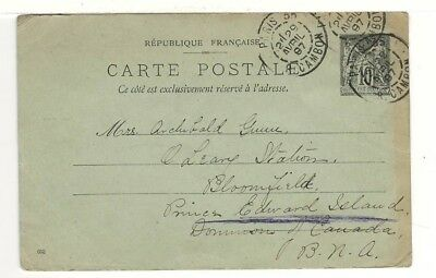 1897 French Postal Card – Sent from Paris to Prince Edward Island