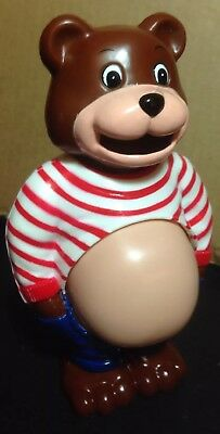 vintage coin bank plastic Pot Belly Bear Belly Expands New Original Packaging 7""