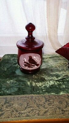 Cranberry Glass Jar With Lid